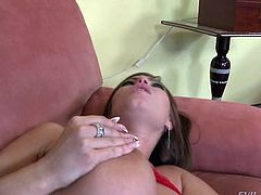 Dirty minded buxom bitch fucks a mature dude on the sofa