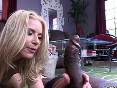 Naked long haired MILF blonde Anikka Albrite with sexy body gets her asshole licked by hot chocolate skinned guy before she takes his big black cock. She eats and strokes Prince Yashuas nice pole at the same time.