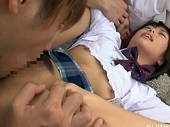 A sexy Japanese school girl cannot get rid of her horny classmates, until allowing them to see and play with her tight cunt. Click to watch this young bitch in uniform, sucking dick and getting her pussy fingered deeply...