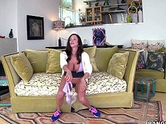 Busty Colombian MILF Ariella Ferrera shows her neatly trimmed bush in close up and then plays with her new purple vibrator. She stimulates her beaver with hitachi and then gives it to tattooed guy.