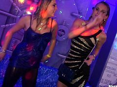 At a company costume ball girls end up naked and fucking