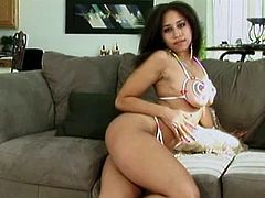 Stunning babes with hot tits fuck each other on couch