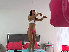Barely legal long haired teen sexy Gina Valentina with long black hair and sexy slim legs gets skull fucked and enjoys some ass licking before Jmac bangs her tight pussy with no mercy.