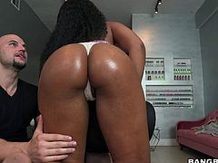 Long haired young ebony girl Tara Foxx bares her juicy tits in front of a lucky white guy then shakes her brown big booty with her white panties on. He loves her hot bottom.