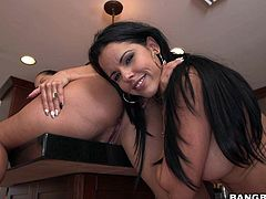 Curvy pantyless sexy Spicy J and Diamond Kitty shake their wet huge round asses and then tongue fuck each others holes from behind. Big booty brunettes will make you cream your pants!