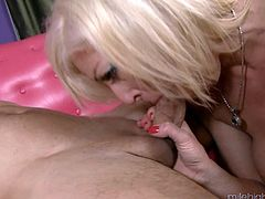 Big tits blonde gives her new stud a rim job after being screwed