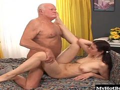 check on all of its tenants but, when she comes upon this old guys bedroom, she finds him laying there with a stiff dick so, not to let it go to waste, she takes off her panties, gives him a blowjob, sits on his cock, then gets a creampie that he drinks.