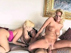 How could this man not get extremely excited, when surrounded by two blonde beautiful ladies, like Emma and Riley? These busty princesses are just craving for a hard dick and nothing could stop them to have fun. See them sucking cock and getting fucked!
