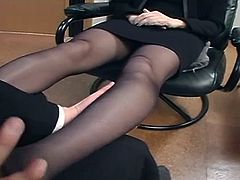 Random Guy Caressing Woman's Sexy Pantyhose Legs