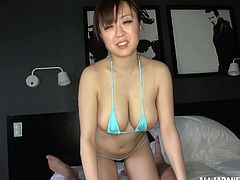 Flirty Asian broad with big tits gets tit fucked in a saucy mmf threesome