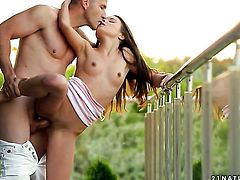 Brunette Anita Bellini takes dudes cum loaded ram rod in her hot mouth
