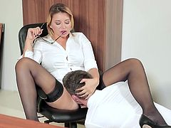 Visit official Babes's HomepageCurvy ass office lady endures cock deep in her moist vagina, all during scenes of hardcore sex at work which end with strong cumshots on her belly