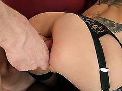 Mark Wood fucks in her mouth as hard as possible in steamy oral action before she takes it in her anal hole