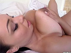 Anastacia Lux is a horny babe with some huge boobs and shes going to give this guy a nice blow. Hes going to love the way she slides her mouth down his shaft