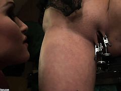 Blonde and Kathia Nobili do lewd things together