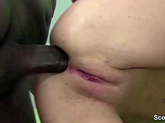 13Inch Black Monster Cock fucks Blonde Teen anal in Casting