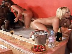 Blonde Flower Tucci with juicy boobs and bald beaver and Georgia Peach screams from endless orgasms after rubbing each others lesbian hole