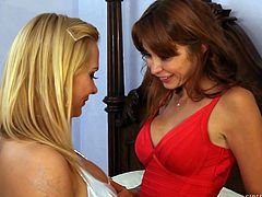 Monique and Katja have been friends for a while, but they're about to become even better friends. Now that their husbands have taken off with each other for a guy's night out, the ladies are finally alone, so they can pursue their true passions: each other. The scorching passion of these milfs is intense!