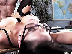 Logan Pierce pulls out his meat pole to fuck adorably sexy Audrey Bitonis slit