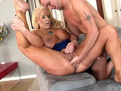 Slutty Alura Jenson is just craving to get pounded by her horny partner. Watch her spreading legs, to show her delicious shaved pussy. The excited blonde milf with big tits is eager to suck dick and ride it passionately. See the sexy scenes!
