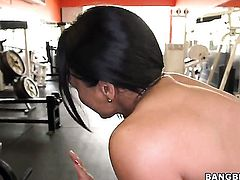 Latina milf Becca Diamond works out topless