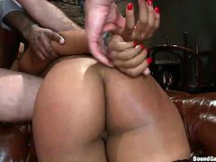 Slutty Leilani mesmerizes a gang of horny men with her incredible hot looks. Click to watch this seductive babe, sucking dick, while her hands are tied strongly. The guys are just craving to stuff their dicks in her nice ass and yummy cunt. See for yourself!