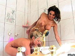 These two hot lesbians decided to take a shower together. Brooke strips down to nothing and soaps her body, which turns on Renae very much. She goes down on Brooke and started licking the soapy water off her shaven pussy. She fingers it hard and makes her cum.