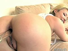 Check out this hot babe's ass and peachy cunt! The crystal clear closeups reveal some inciting details, which make the atmosphere catch fire, as slutty Maya is eager to play dirty. See a horny man, stuffing a kinky dildo in the blonde busty lady's ass. Enjoy the sexy blowjob scene...