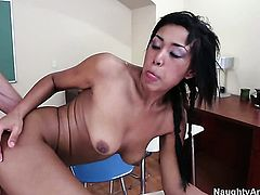 Katt Dylan enjoys Jordan Ashs throbbing rod deep inside her cunt
