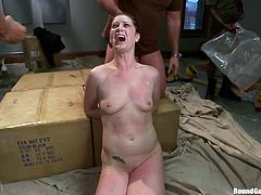 Slutty CiCi gets her face covered in a big load of cum. This helpless naked bitch with small tits has been strongly bonded, than awfuly disgraced by a gang of horny men. See them covering her face with a sack, while she is tied up. Don't miss the crazy spicy scenes...
