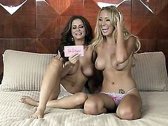 Brett Rossi with juicy melons and trimmed muff bares it all as she plays with her snatch