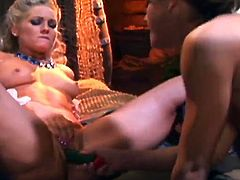 Attractive blonde lesbian lies with her legs spread and has her wet pussy licked. Later on she takes a fat dildo down her wet pussy and her delicious booty.