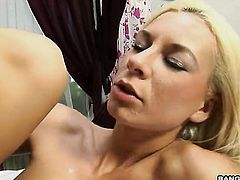 Blonde Angelina Love turns man on to the point of no return with her hands and jacks him off