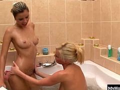 Harmony Flame and Stella Delcroix are taking a bath together. Its no secret that when they hop in the tub, dirty things start to happen. Harmony starts rubbing Stellas big round tits and rubbing her clit to get her going. They switch off and Stella returns the favor by going down on Harmonys super wet pussy. They rub and suck until they both cum hard and go back to relaxing in the nice warm bath.