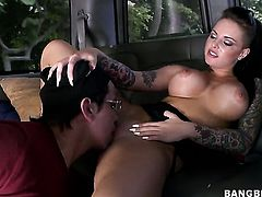 Christy Mack getting some oral done in the bus