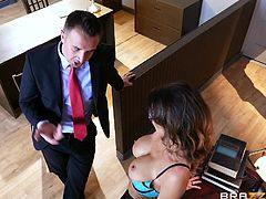 What boss wouldn't enjoy the company of a voluptuous employee? Jessica masters the art of seduction, driving the man in suit just crazy, with her fascinating big boobs. This versed milf is so eager to spread legs and get her pussy stuffed with a hard dick. See her on knees, sucking cock at work!
