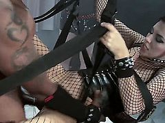 Brunette in a corset gets a BBC