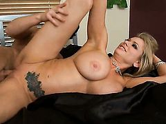 Seth Gamble gets seduced into fucking by Briana Banks with giant melons and hairless beaver