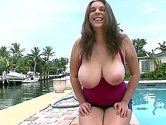 Alex Chance is a bbw brunette with some big, natural bazongas and shes going to get down on her knees to suck on that big, throbbing white pecker of his. She loved it!