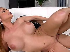 Cathy Heaven has some really massive tits that are shaking while her ass is taking on a cock. She is receiving an anal gangbang. The man likes her large boobs.