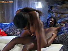 Big tits ebony hottie craves a big cock