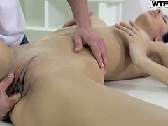 Kitty loves to spend her weekends doing nothing but getting pampered. She goes to a massage parlor and notices the hot masseur. She lies down naked on the table and spreads her pussy, as if it's not just massage, that she is hungry for! The masseur takes the cue and slowly puts his finger in her hot pussy.