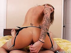 Juelz Ventura with juicy breasts and smooth muff needs nothing but Danny Wyldes hard sausage in her bush to get orgasm