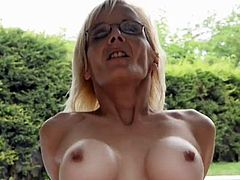 Mature with glasses sodomized by the pool