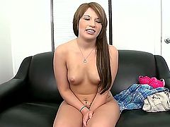 Nadia Cox is a sexy 18 year old amateur brunette that just craves cock. She is on the sofa and she is doing a casting interview. Check her out as she spreads her legs.