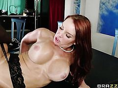 Jason Brown bangs Janet Mason with huge boobs in her mouth as hard as possible in oral action