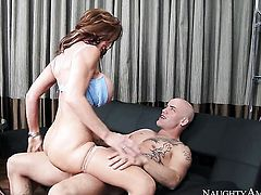 Deauxma with big breasts and trimmed muff looks for a chance to get orgasm after hard love hole fucking with Derrick Pierce