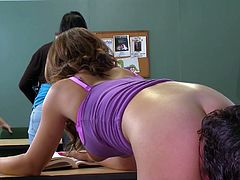 Visit official Brazzers Network's HomepageBig tits beauty is very eager to try her teacher's huge dick deep in both her shaved love holes during a special fuck adventure at school