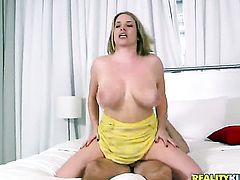 Blonde takes a dream shower in cumshot action