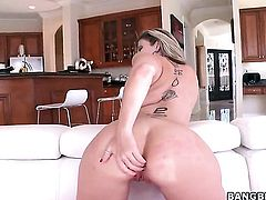 Huge ass blonde is being fucked